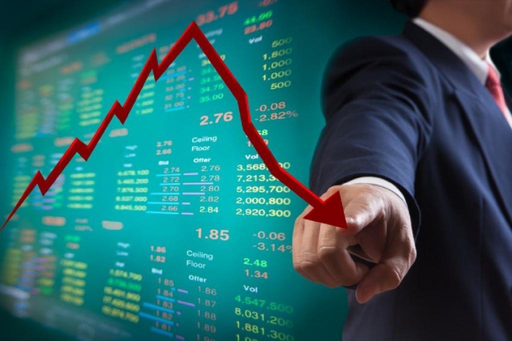 Падение курса акций.