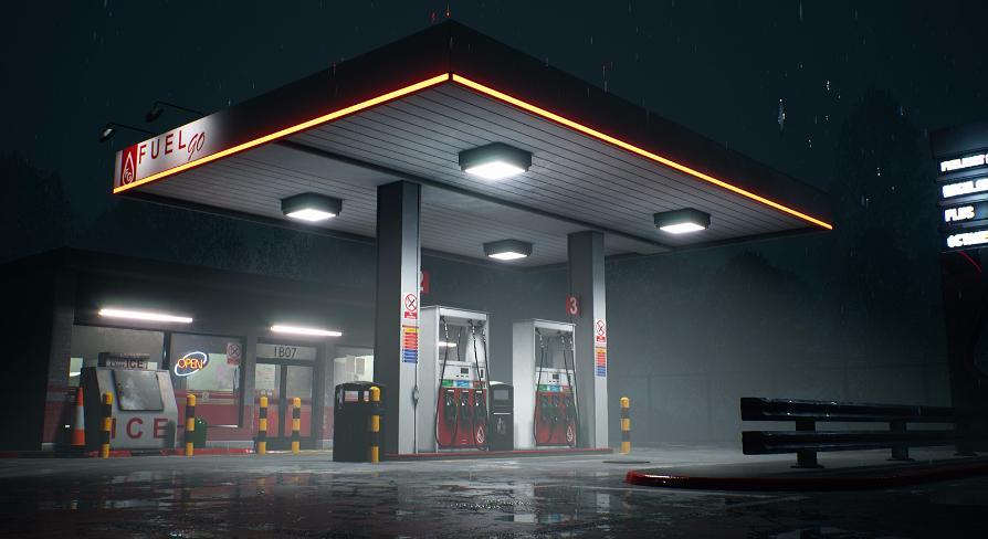Автозаправочная станция ночью.