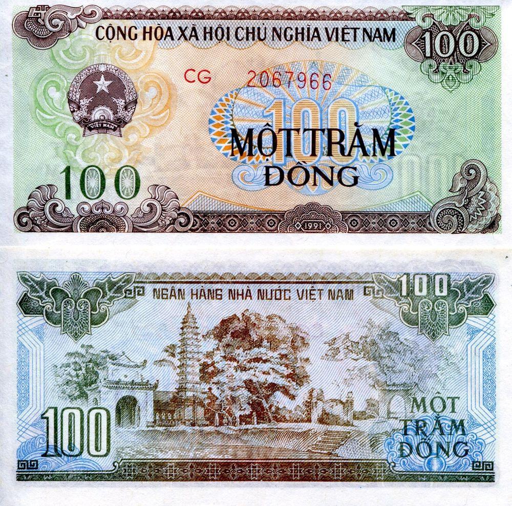 банкнота 100 донгов