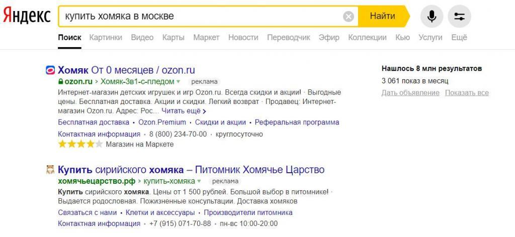 Реклама в результате поискового запроса