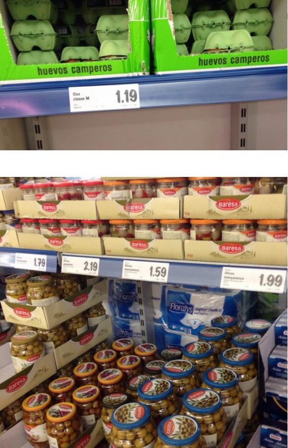 Стоимость продуктов в Испании.
