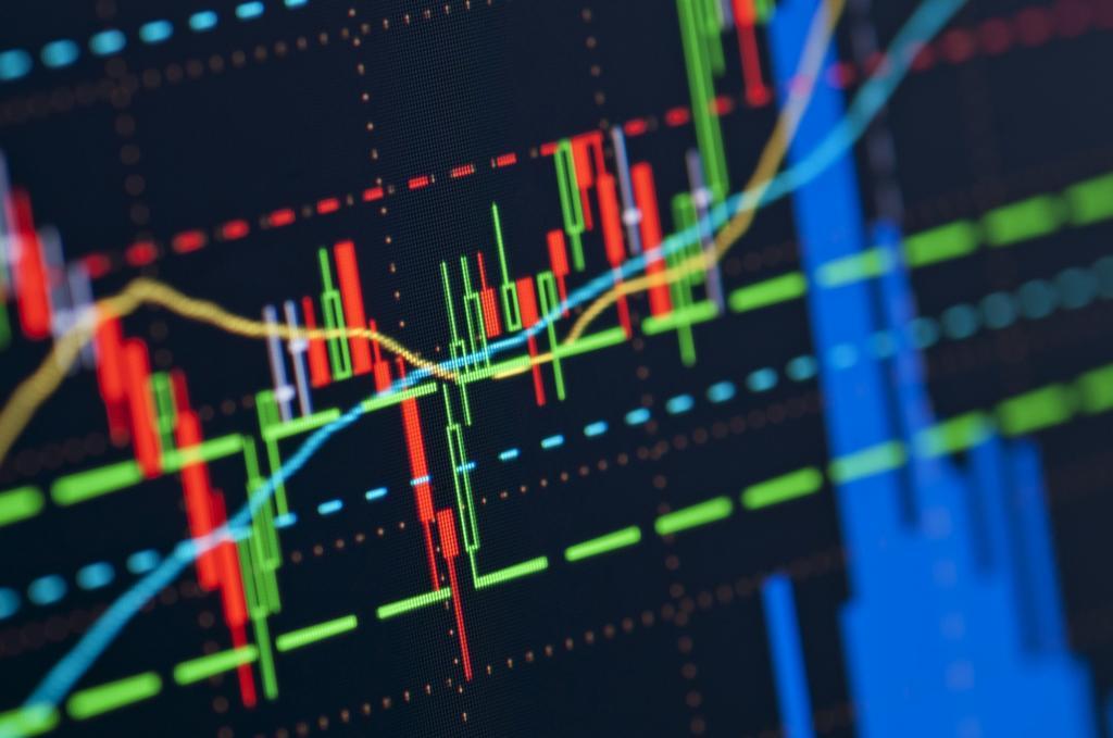 Диаграмма падения и взлета акций.